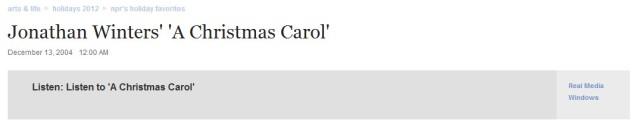 "Winters Recording of ""A Christmas Carol"""