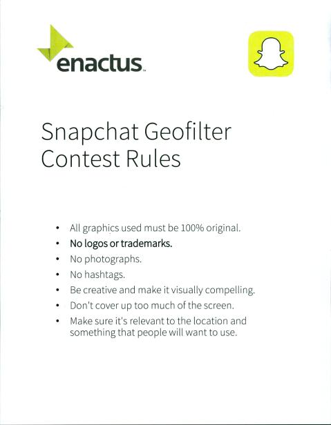 Enactus Snapchat Geofilter Contest Rules