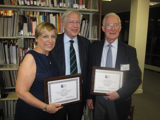 Retiring board members Joy Dlugosz (L) and John Crosby (R), with current FOL trustee Rich Merriman (C)